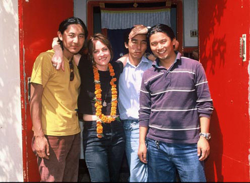 """Laura"" at home in KMU< Nepal with Tibetan friends"