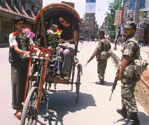 My roommate getting stopped at security checkpoint in Thamel, Kathmandu, Nepal