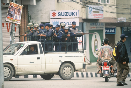 Civil War in Nepal, 2002, this scene in downtown Kathmandu