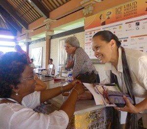"Debra Yatim, Indonesian author after ""Inspiring Women"" panel Haideh Moghissi speaking on ""Inspiring Women"" panel  at Ubud Writers and Readers Festival in Ubud, Bali, Oct 2013"