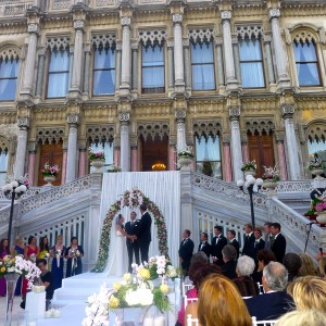 The wedding at the Ciragan Palace, the old residence of Sultans on the Bosphorus. An eclipse was taking place at the time this photo was taken. Later a full moon rose over the Bosphorus as we danced the night away.