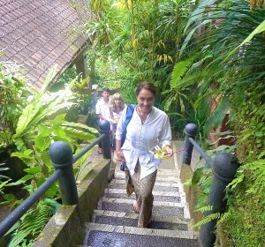 Coming up the steps of the Kumara Sakti Resort in Ubud, Bali, October 2013